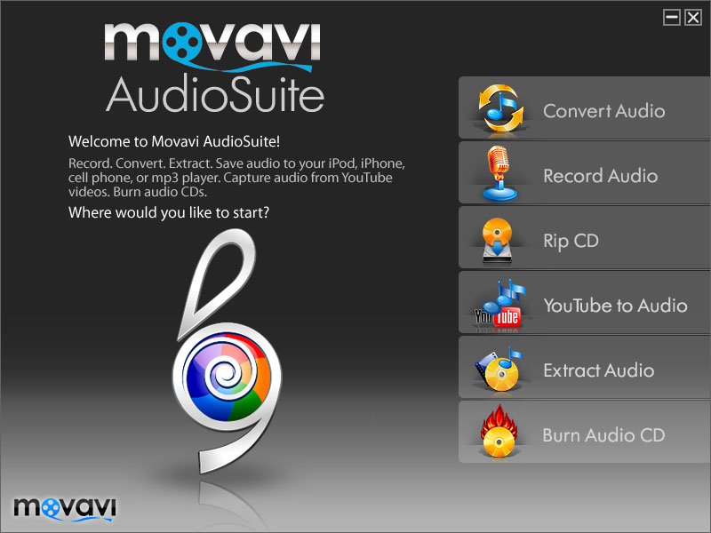 Click to View Full ScreenshotMovavi AudioSuite 1.1.19 screenshot