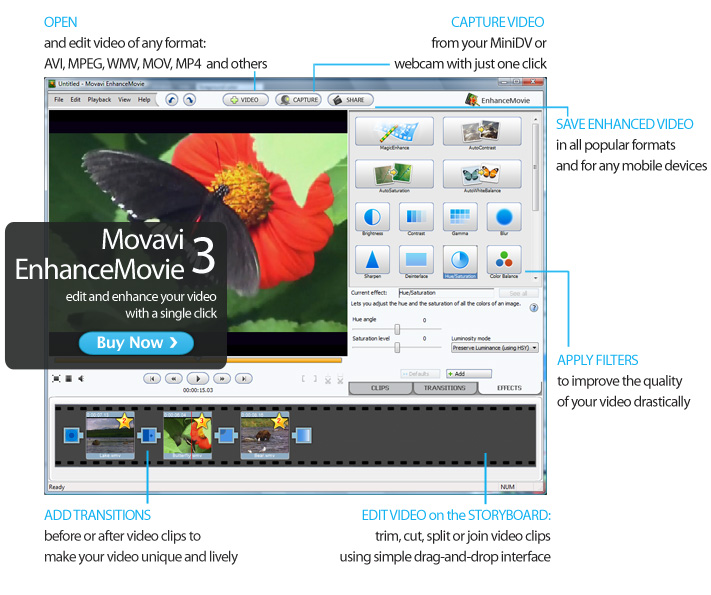 Effective and easy-to-use software for video editing and quality improvement Screen Shot
