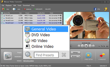 Step 3 - Choose Preset. MP4 converter, mp4 video converter, avi to mp4, wmv to mp4, 3gp to mp4, video to mp4, mp4 software, mpeg4 converter, convert video to mp4.