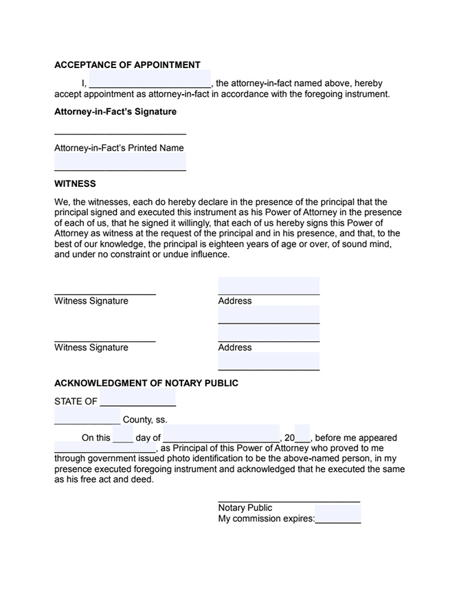 General Power Of Attorney Form Free Form In A Pdf Format