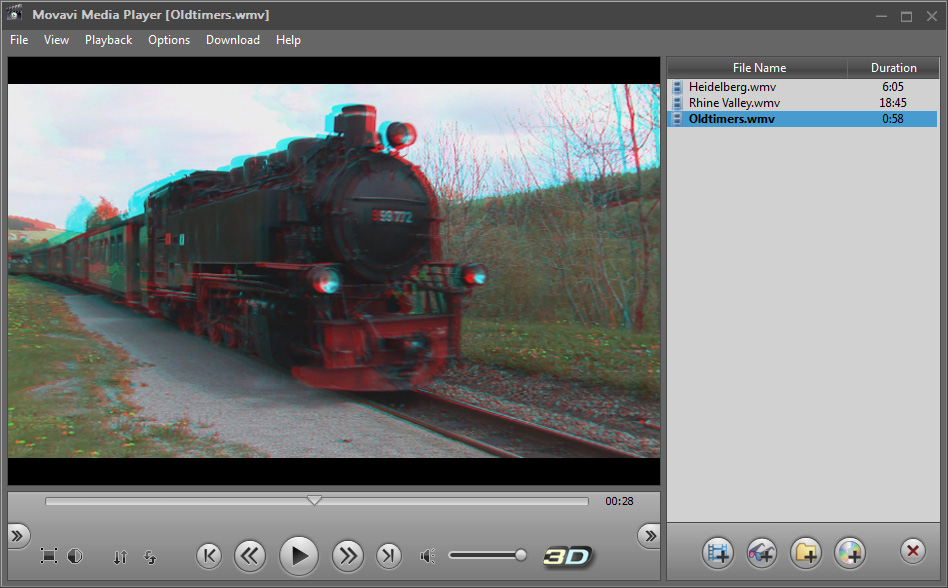 Movavi 3D Media Player Screenshot