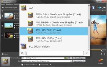 Выбрать формат видео