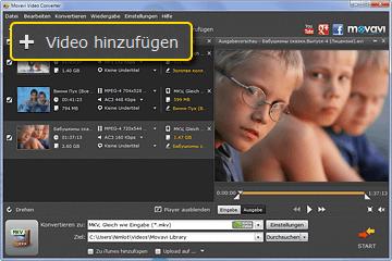 Fügen Sie Videos für Konvertierung hinzu