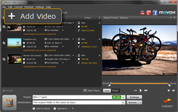 Step 2 - Open Video in the AVI Movie Converter from Movavi