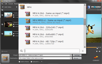 Step 3 - Pick the Output Format before Converting MOV to MP4
