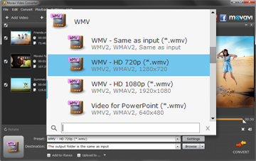 Step 3 - Choose Output format Before Converting WMV to MOV