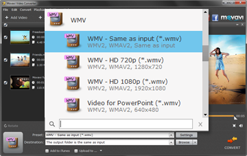 Step 3 - Before Converting MP4 to WMV Choose a Preset