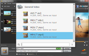 Step 3:To convert Mts, please, choose the needed file extension