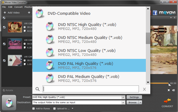 Step 3 - Choose the Preset before converting PAL to NTSC