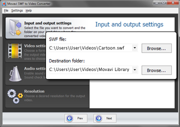 Step 2 - Add Your File to the SWF Video Converter and Choose the Destination Folder