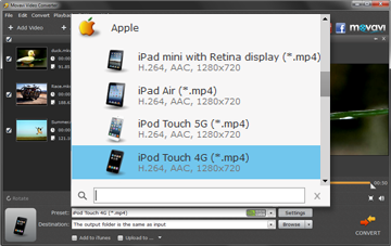 Step 3 - Choose Preset. iPod converter, ipod video converter, video to ipod.
