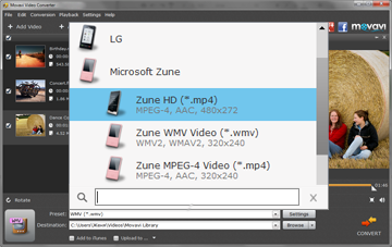 Step 3 - Choose Preset. Zune converter, zune video converter, video to zune, dvd to zune, avi to zune, mp4 to zune, wmv to zune.