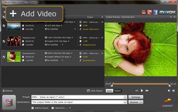 Step 2 - Load Videos to Movavi AVI to WMV Converter