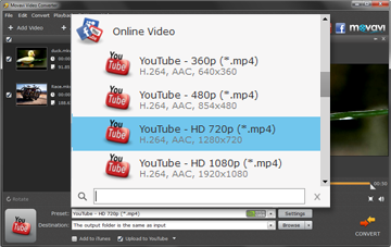 Step 3. Select a preset before you convert and upload video to YouTube.
