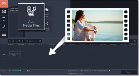 Step 1 - Add files to Movavi Video Editor before using video filters