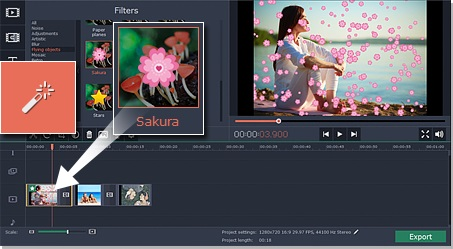 Step 2.1 - Click Drag and Drop button to add filter to video
