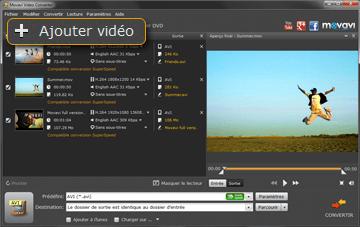Ajouter une vidéo MOV pour la conversion