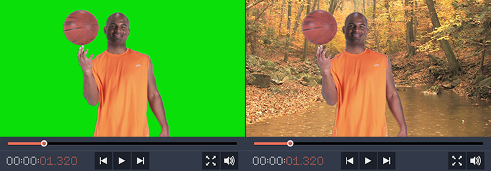 Chroma Key effect: before and after