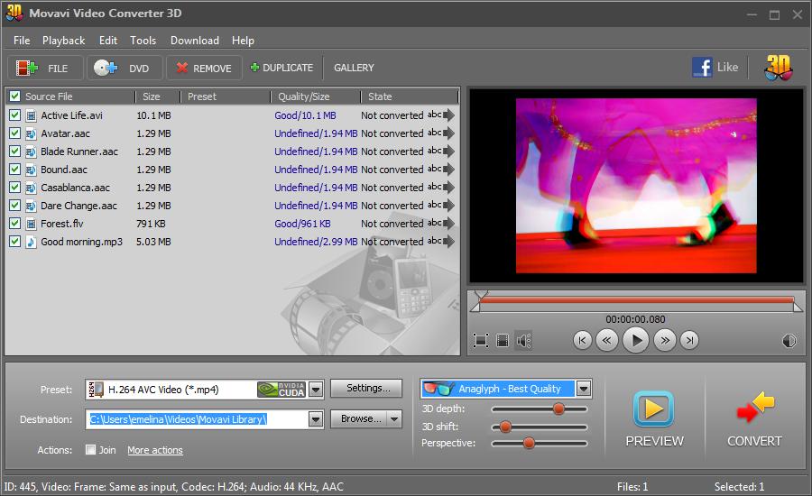 Movavi 3D Media Player - бесплатная программка, которая запросто переделыва