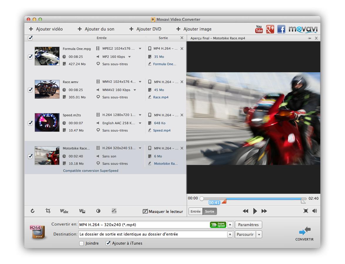 Le meilleur logiciel pour convertir des vidéos MKV en AVI ou MP4. Profils prêts, soutien de la qualité HD. Gratuit, efficace, en français!