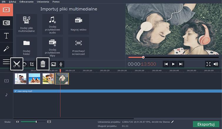 Podziel klipy na części, usuń niepożądane fragmenty