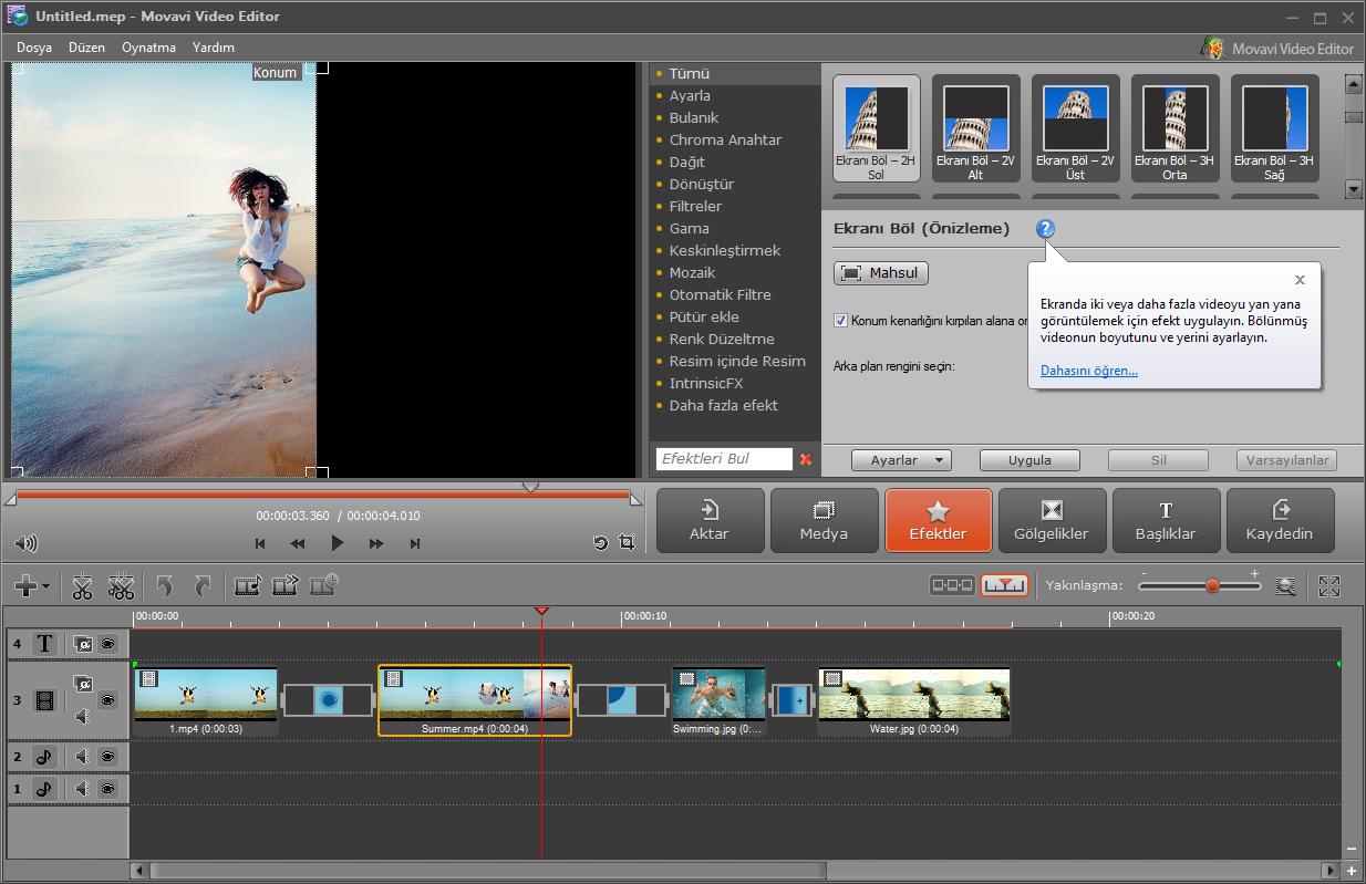 Movavi Video Editor Resimler