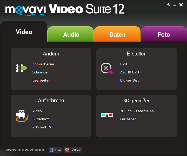 Click to view Movavi Video Suite DE screenshots
