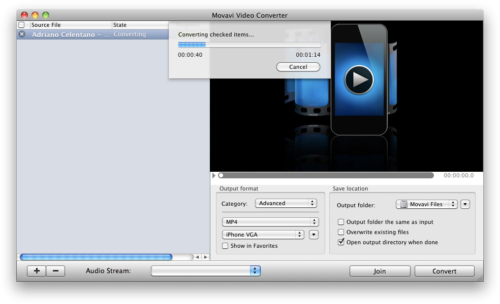 Movavi Video Converter for Mac Screenshot