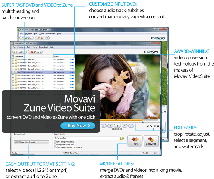 Click to view Movavi Zune Video Suite 1.0.0.1 screenshot