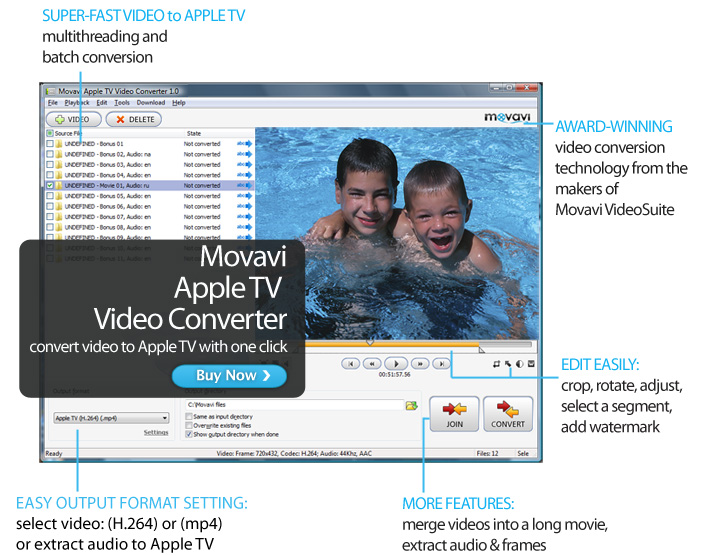 Click to view Movavi Apple TV Video Converter 1.0.0.1 screenshot