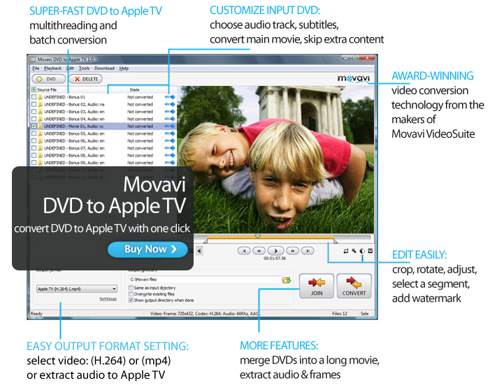 Click to view Movavi DVD to Apple TV 1.0.0.1 screenshot