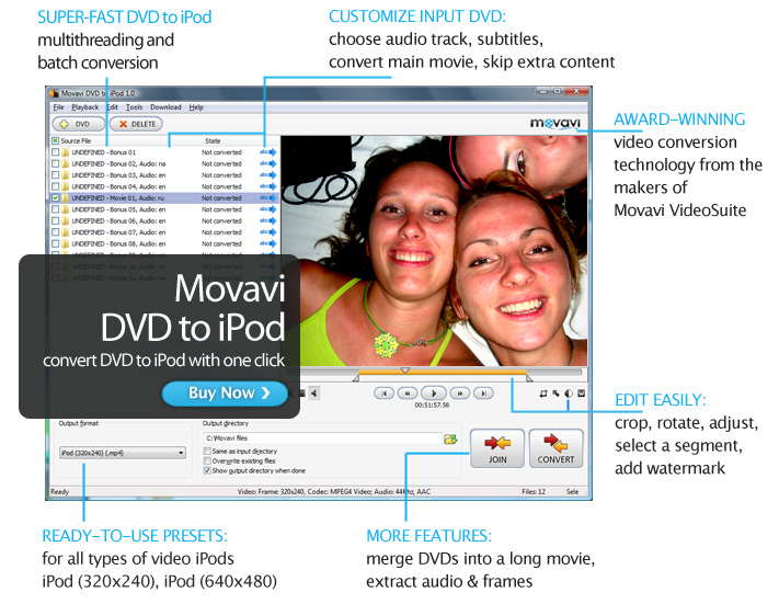 Click to view Movavi DVD to iPod 3.1.2 screenshot