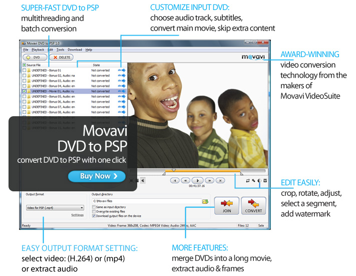 Click to view Movavi DVD to PSP screenshots