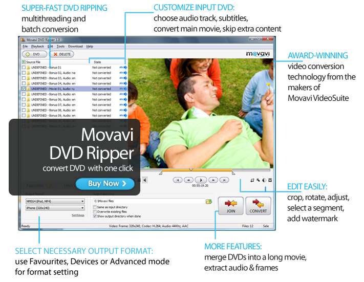 Click to view Movavi DVD Ripper 7.1.1 screenshot