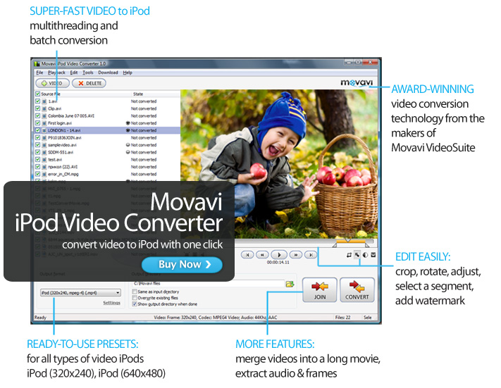 Movavi iPod Video Converter Screen shot