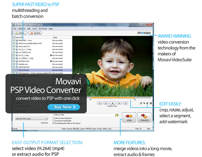Click to view Movavi PSP Video Converter 1.0.0.1 screenshot