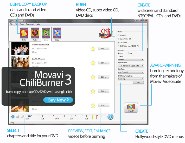Burn data, audio and video on CD and DVD.