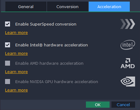 How to adjust acceleration settings in a quick video converter from Movavi