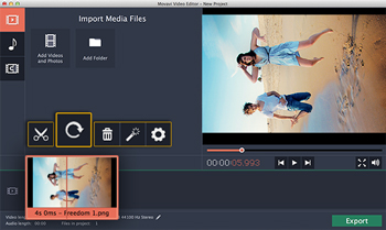 How to rotate a video on mac video rotator for mac select the clip you want to rotate on the storyboard to activate the editing toolbar right above the working area of the interface locate the rotate button ccuart Images