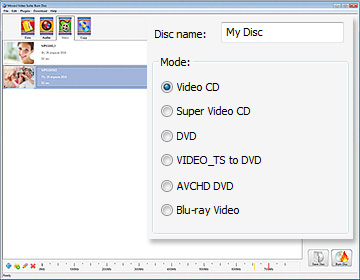 Step 2.1 - Set name and type for video CD burning