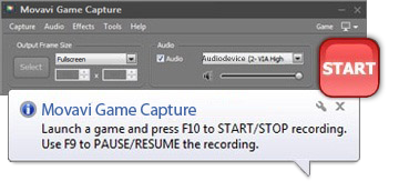 Step 2 - Click the button to start using Movavi game recorder