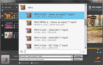 Step 3 - Select Output Format for Converting DVD to MP4 in Movavi Software