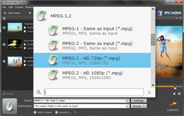 Step 3 - Choose MPEG as an Output Format in Movavi MPEG Converter