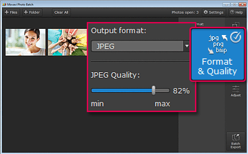 Specify Image Format and Compress Files