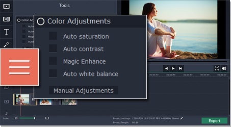Step 2.2 - Make adjustments to change the appearance of your filtered video