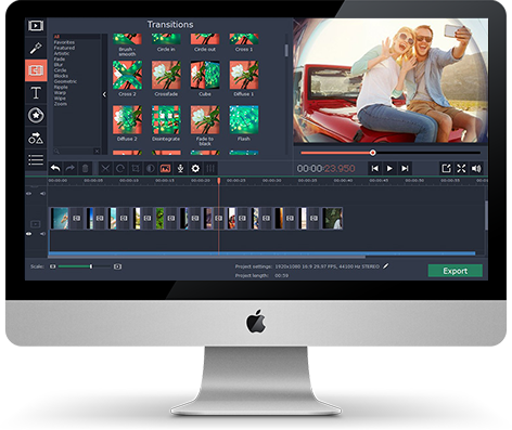 This is how Movavi Video Editor for Mac looks like on Mac screen