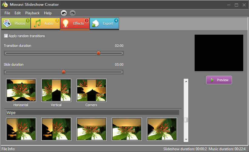 effetti transizione video foto